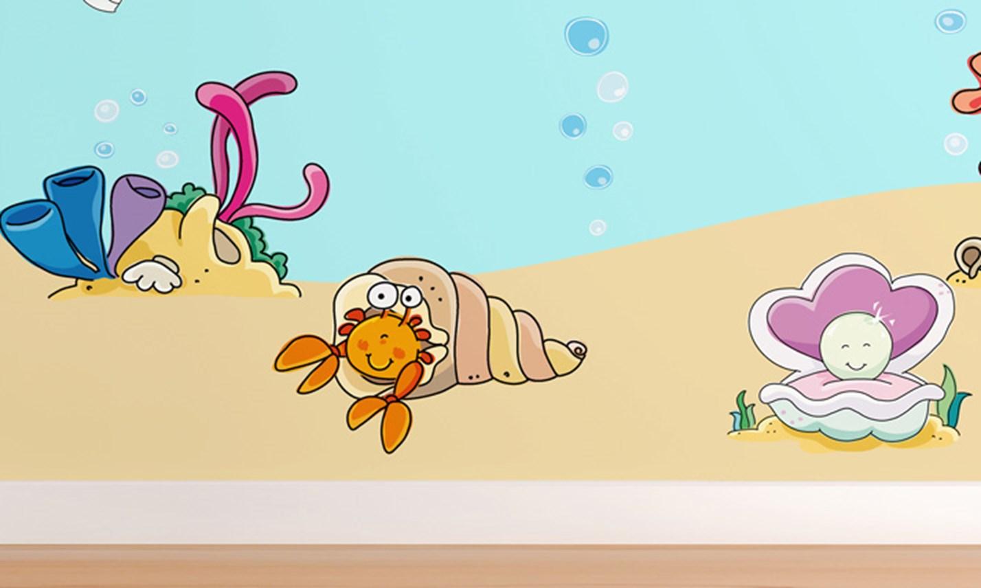 Stickers murali bambini cameretta tra i coralli for Adesivi murali x bambini